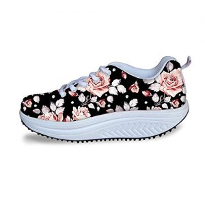 Vintage Floral Rose Print Fitness Walking Sneaker Casual Women's Wedges Platform Shoes