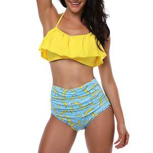 Haloyo Womens Flounce Falbala High Waist Bikini Set Family Matching Mother Girl Swimwear
