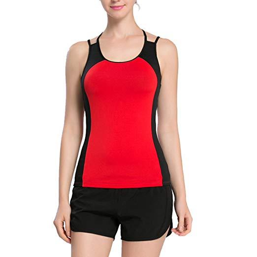 Womens Yoga Workouts Strappy Back Sport Tank: Workout Yoga Strap Racerback Tank Top