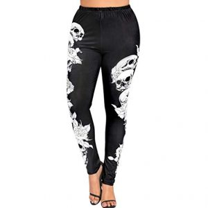 Mikey Store Clearance Womens High Waist Yoga Sport Pants Plus Size Skulls Leggings