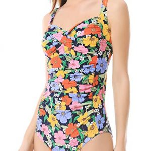 MISSWIM Women's Vintage One Piece Swimsuit Center Front-Twist Bathing Suit