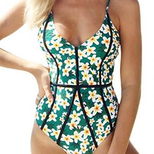 Cupshe Fashion Women's Young and Vigor Print Metal Buckle at Back One-Piece Cutout Swimsuit Beach Swimwear Bathing Suit
