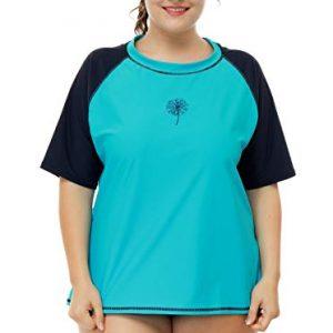 Women Plus Size Rash Guard Short Sleeve Rashguard