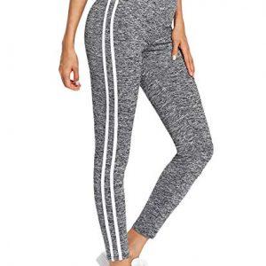 SweatyRocks Leggings for Women,Yoga Workout Leggings High Waist Striped Side Jogger Pants