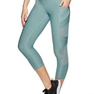 RBX Active Women's Gym Yoga Capri Length Workout Leggings with Mesh