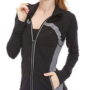 Women's Running Shirt Full Zip Workout Track Jacket