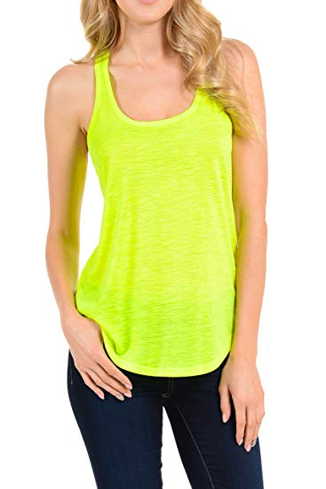 b05c54ee40597 Racerback Neon Sports Workout Tank Tops - WF Shopping