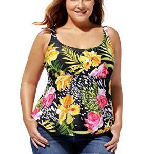 Women's Plus Size Swimsuit Tankini Tops Ladies Swimwear