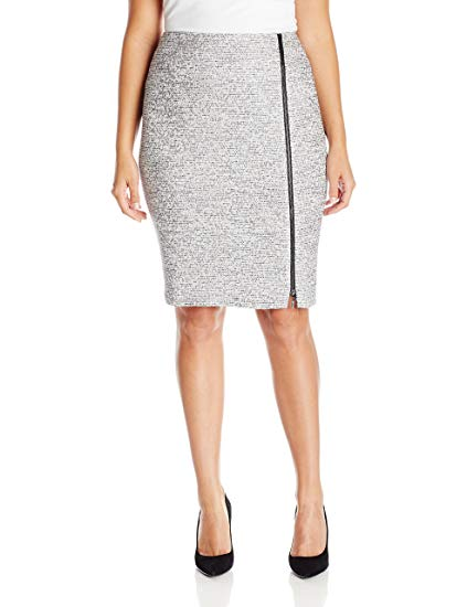 Kasper Women's Plus Size Tweed Skirt with Zipper