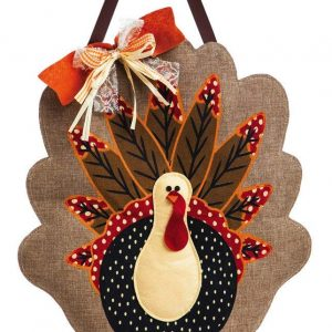 Evergreen Adorned Turkey Burlap Door Decor