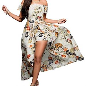 Off Shoulder Floral Rayon Party Split Maxi Romper