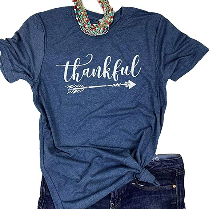 bd438c8499901 Enmeng Womens Blessed Thankful Printed T-Shirt Casual Thanksgiving ...