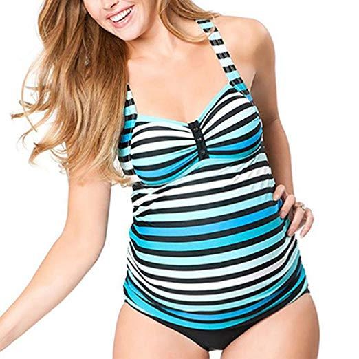 1dc931d83c37e Maternity Tankini Halter Pregnancy Swimsuit - WF Shopping