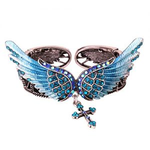 Angel Wings Cross Stretch Bangle Bracelets