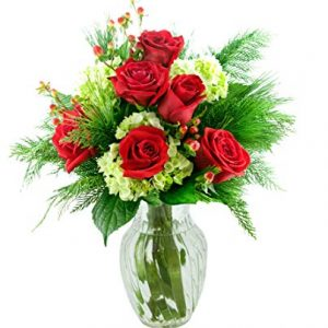Greetings with Red Roses and Green Hydrangeas
