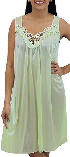 Womens' Silky Looking Embroidered Nightgown