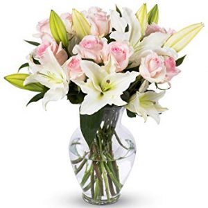 Light Pink Roses and White Oriental Lilies