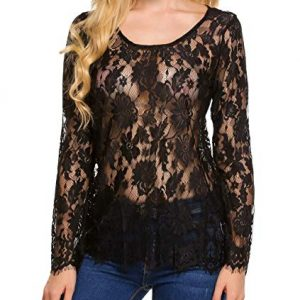 Sheer Floral Lace Blouse