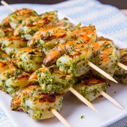 Shrimp Skewers With Pesto