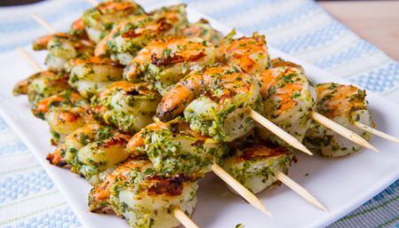 Shrimp Skewers With Pesto