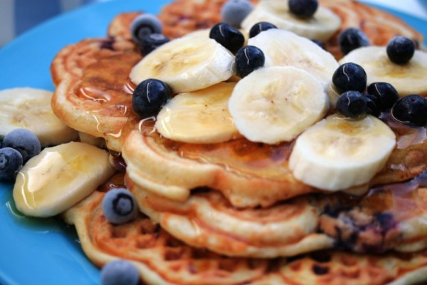 Banana Waffles With Blueberries