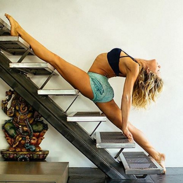 Practicing Yoga Stairs