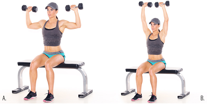 Seated Top-Hold Dumbbell Presses