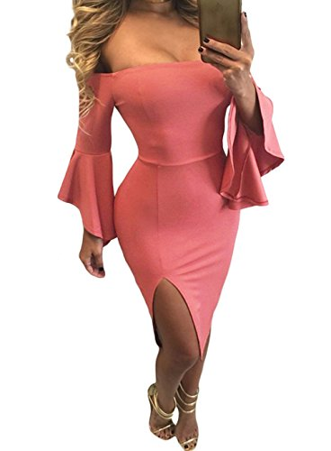 TomYork Ruffle Sleeve Off Shoulder Midi Dress