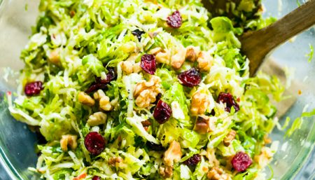 Brussels Sprout Slaw with Cranberries and Walnuts