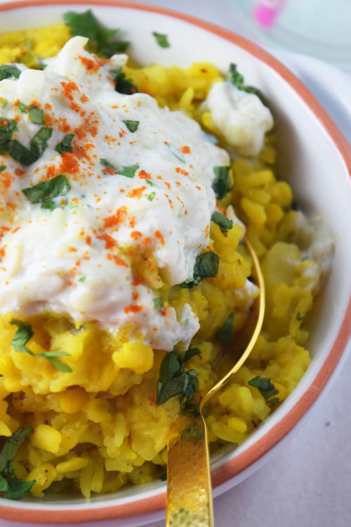 Indian Dal with Yogurt and Cucumbers