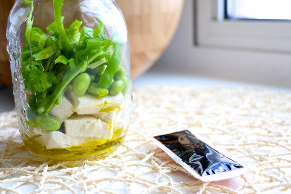 Tofu Edamame Salad in Mason Jars