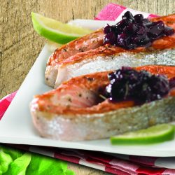 Seared Salmon with Blackberry-Date Chutney