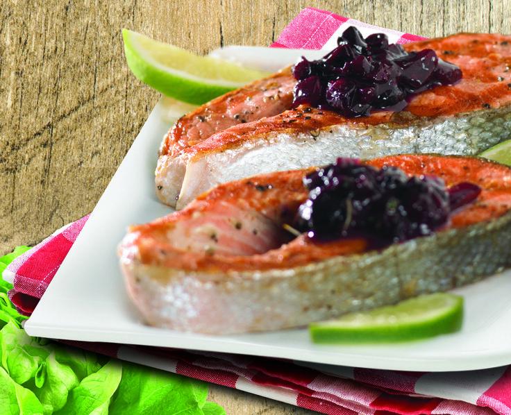 Seared Salmon with Blackberry-Date Chutney