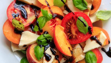 Peach and Basil Salad with Fresh Mozzarella