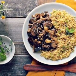 Millet with Mushrooms and Pumpkin Seeds