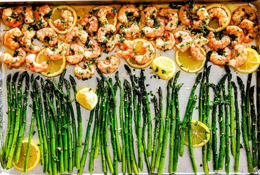 Asparagus with Lemon Garlic Shrimp