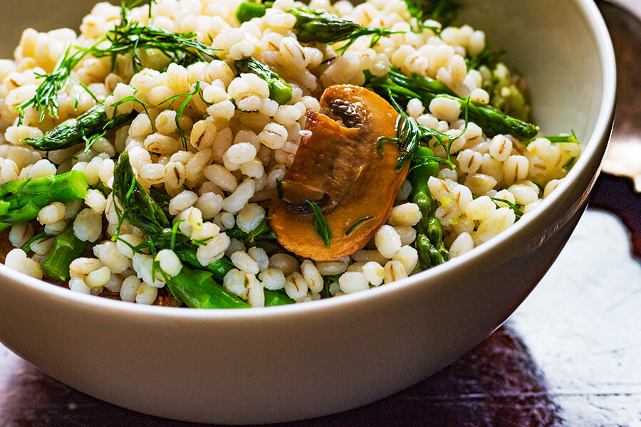 Mushroom, Barley and Roasted Asparagus Salad