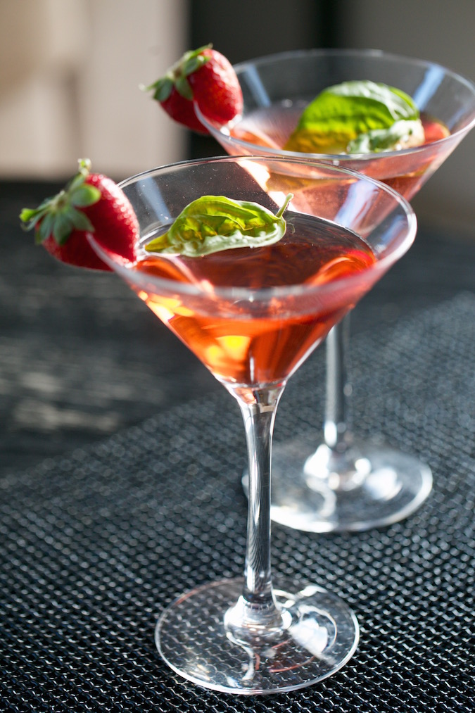 Raspberry Strawberry Basil Spritzer Mocktail
