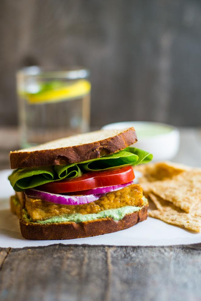 Teriyaki Tofu Sandwich with Herbed Tofu Dip