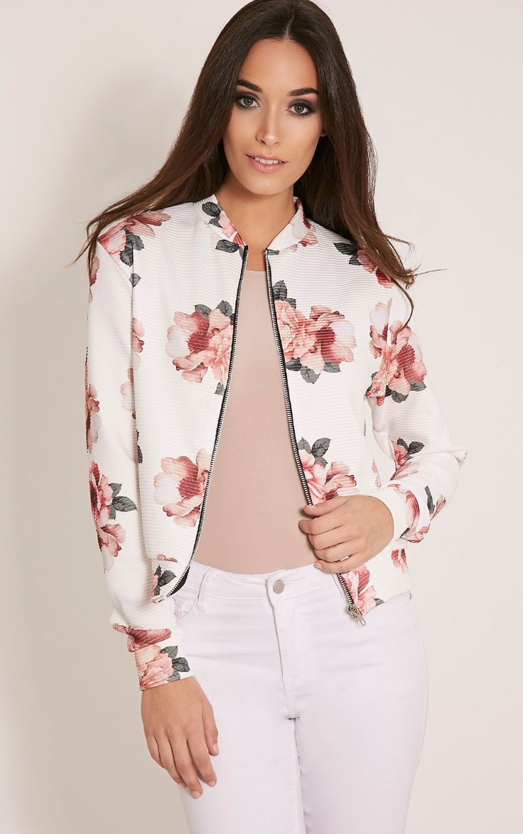 LaCouleur Women's Floral Print Zip up Long Sleeve Casual Fashion Short Bomber Jacket Coat