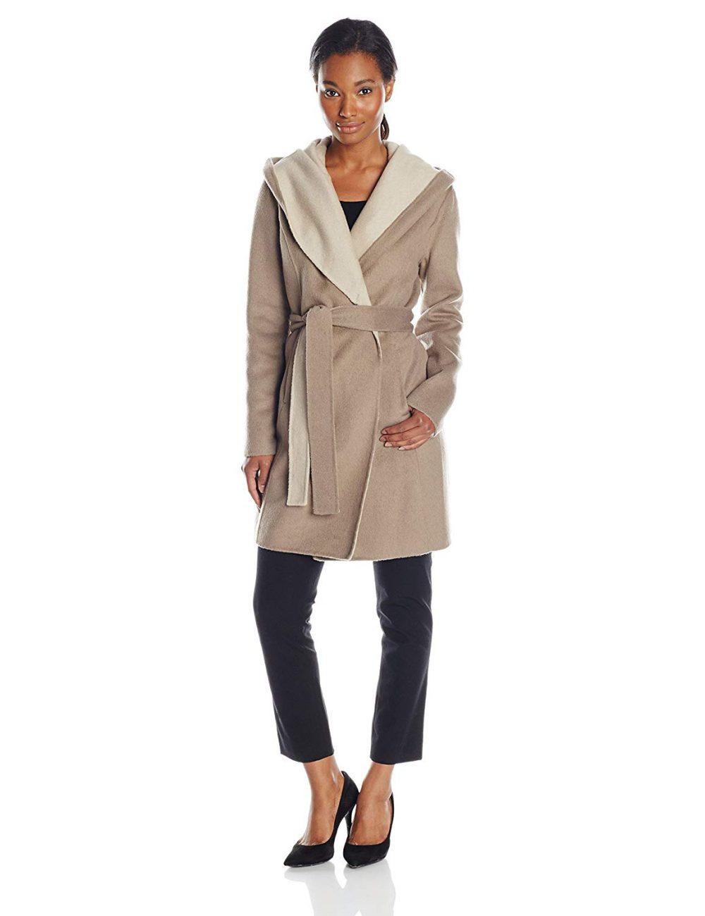 Elie Tahari Women's Mala Two-Tone Wrap Coat