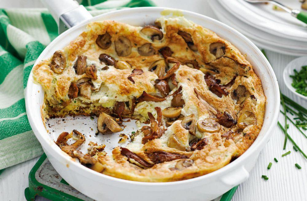 Puffed mushroom omelette