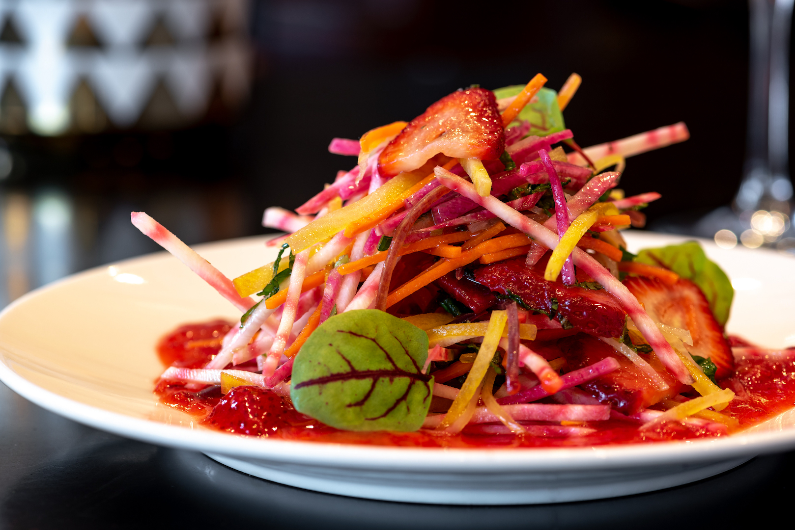 Root Vegetable Julienne Salad with Strawberry Tahini Dressing