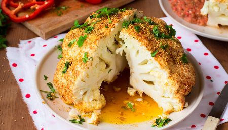 Roasted Cauliflower with Spiced Tomato