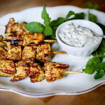 Tandoori Chicken Skewers with Mint Raita